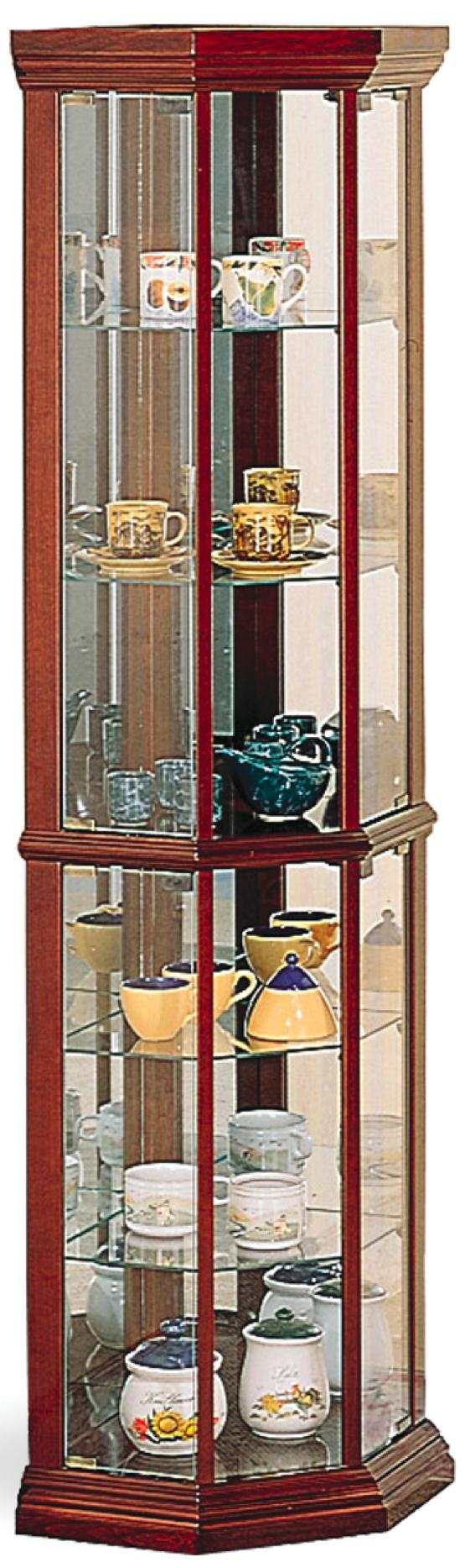 Curio Cabinets Solid Wood Cherry Glass Corner Curio Cabinet With 6