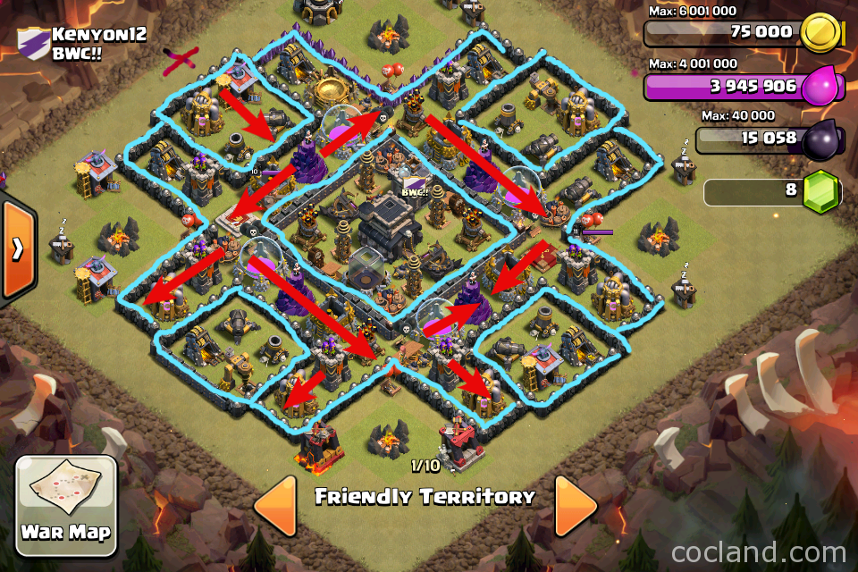 while surfing on clash of clans forum  i saw this cyanide town hall 9 base design  which was