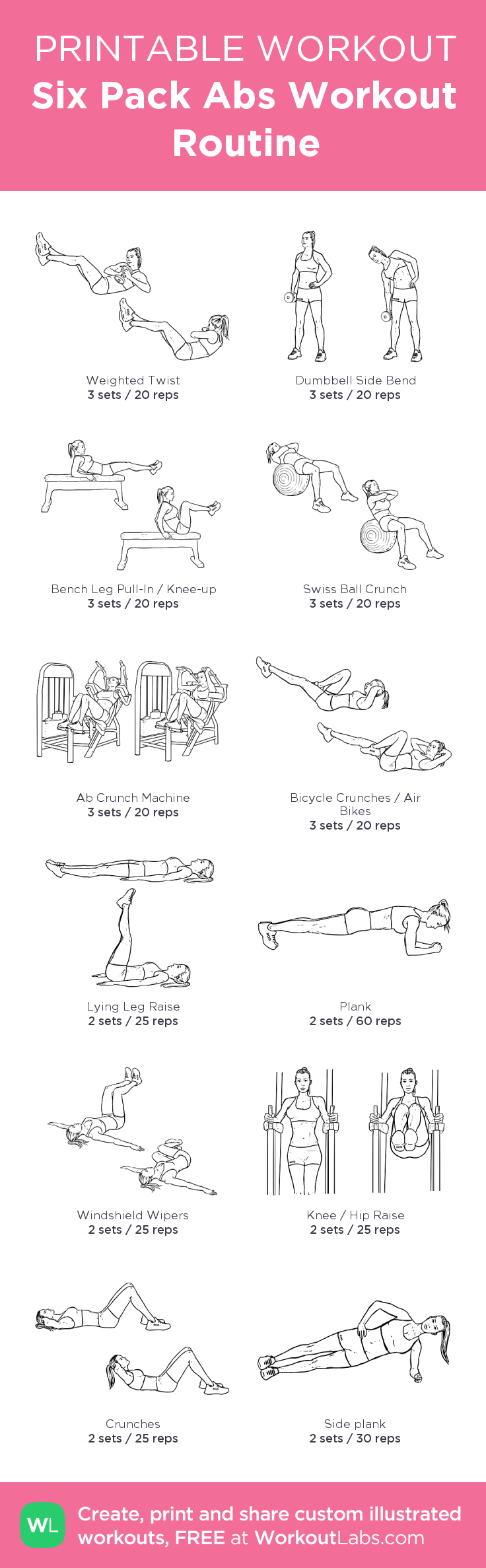 Six Pack Abs Workout Routine: my custom printable workout by