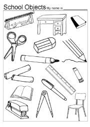 English worksheet: Classroom Objects Colouring Game
