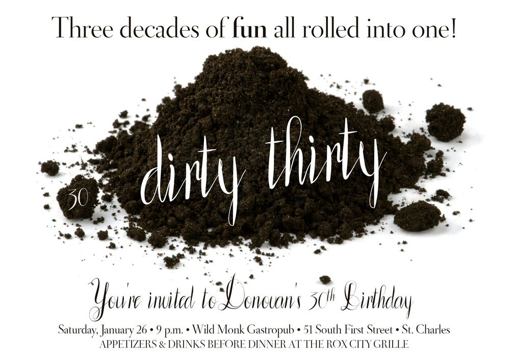 Dirty Thirty (Older than Dirt) Party Invitation | Party invitations ...