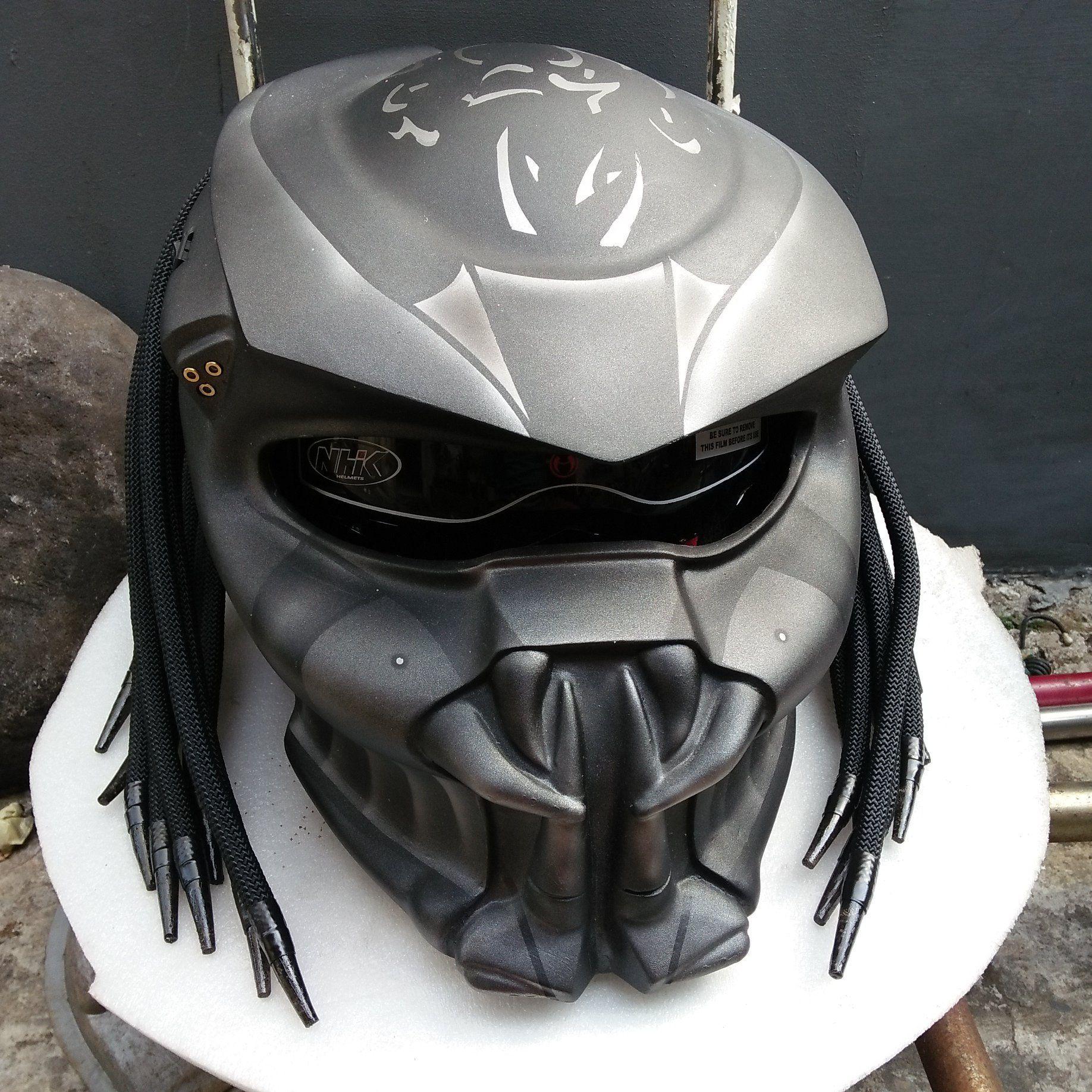 Predator Helmet Street Fighter Style 3 Laser Dark Grey Color Etsy In 2021 Predator Helmet Futuristic Helmet Predator