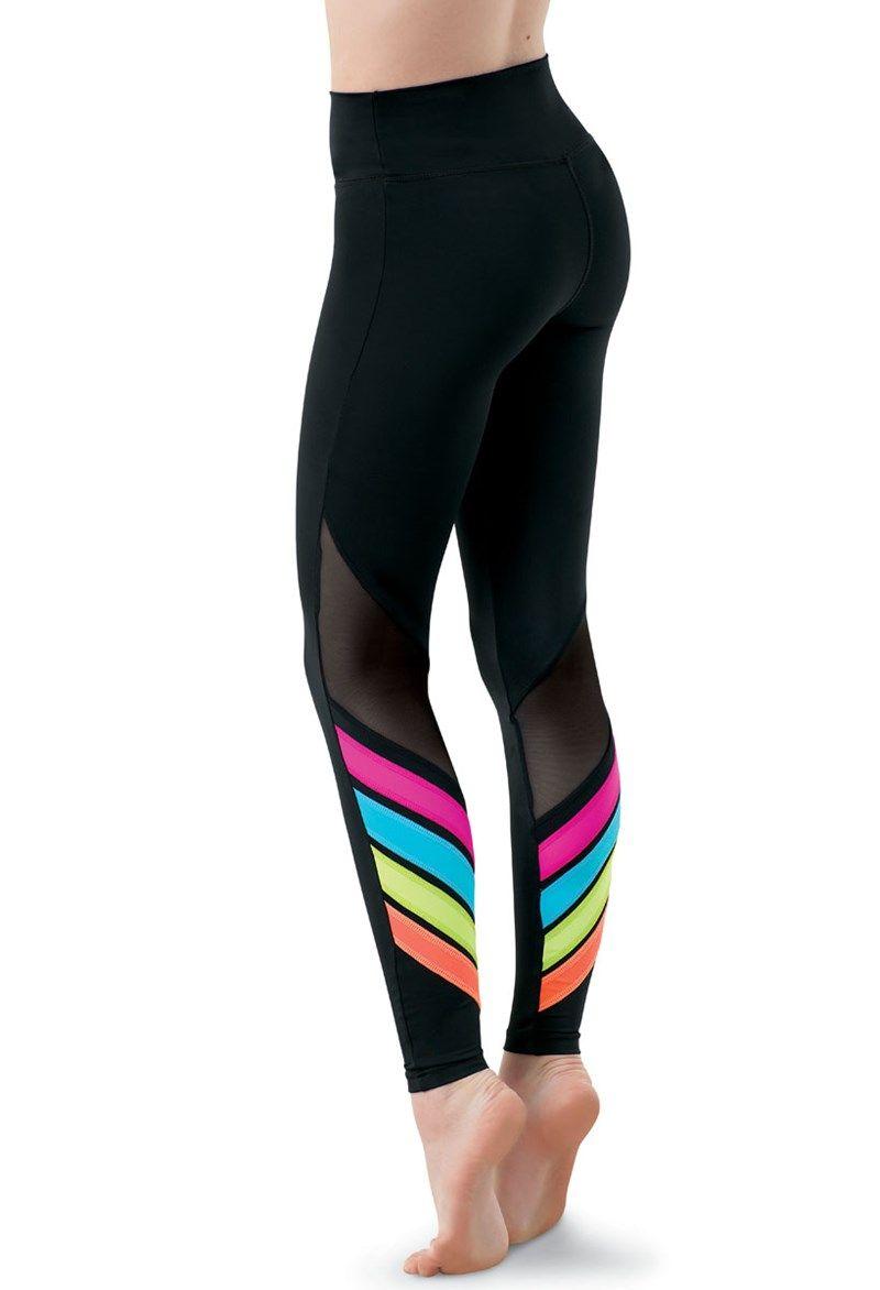 fd8827bb598fc Rainbow Accent Mesh Leggings | Trend: High-Waisted | Dance leggings ...