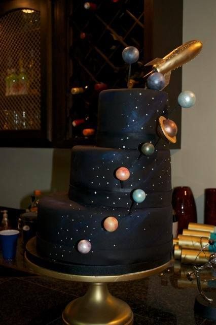 Jules Verne Inspired Space Cake with Sugar rocketship by The Mischief Maker.