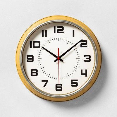 Wall Clock Caramel Yellow Hearth Hand With Magnolia In 2020 Wall Clock Hearth Hand With Magnolia Clock