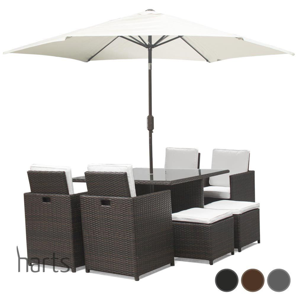 Available In 3 Colours Harts Premium Rattan Dining Set Cube 8 Seats Garden Patio Conservatory Furniture Inc Rain Cover Parasol Brown Co Uk