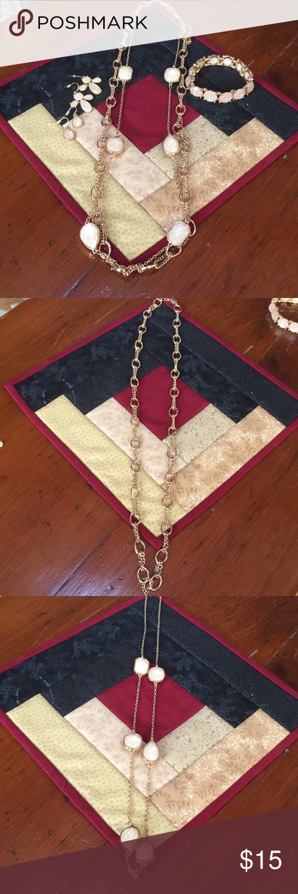 Gold necklace bracelet u earring set gold necklaces compliments