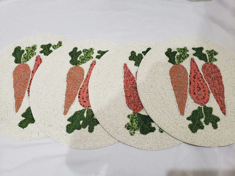 """Easter Placemat Carrots Placemat Nicole Miller Home 15/"""" Beaded Easter Placemat"""