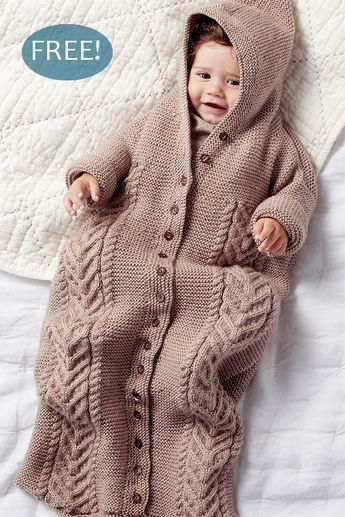 Free Knitting Pattern for 8-Row Repeat Cable Baby Bunting ...