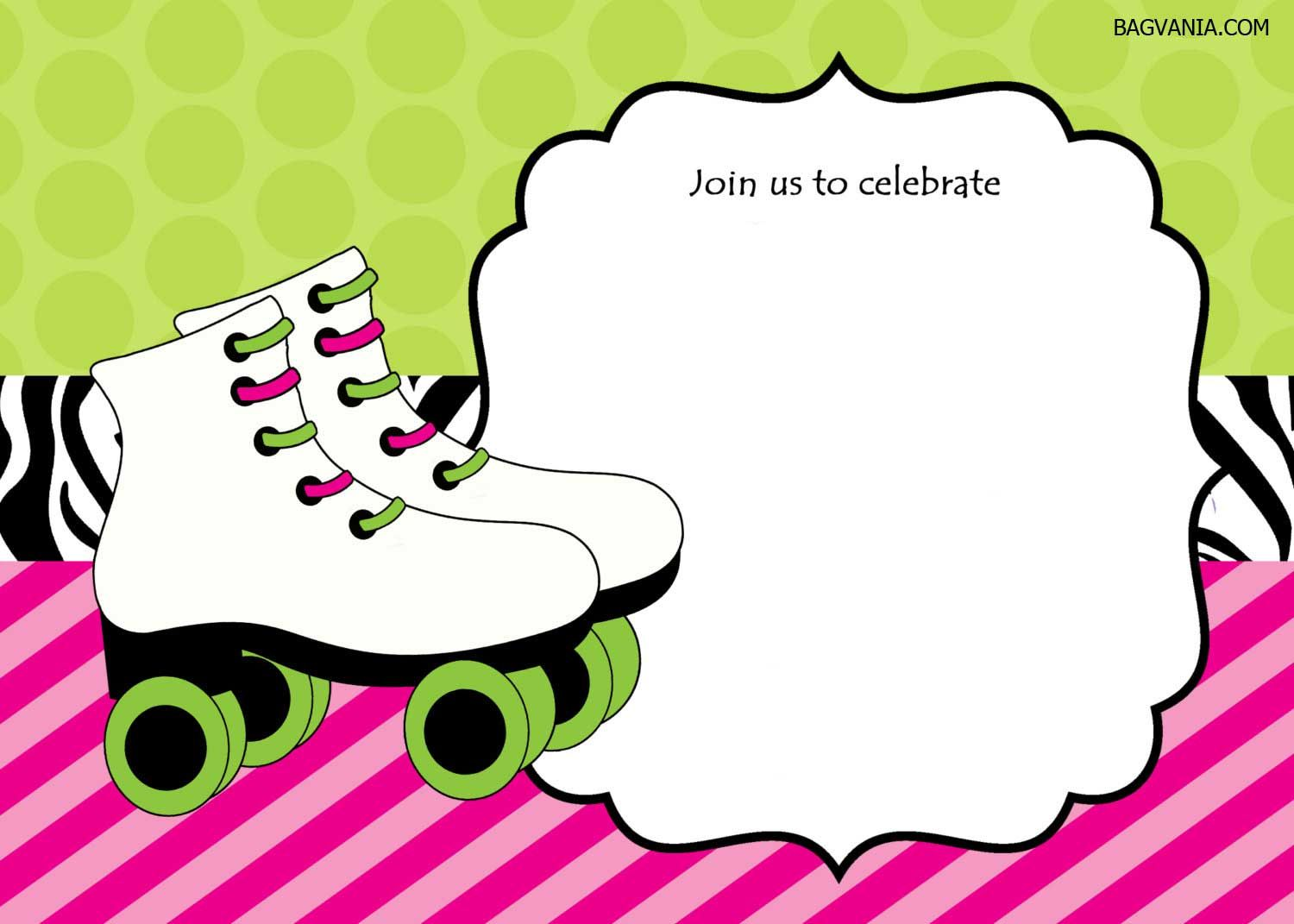graphic about Free Printable Roller Skate Template named skating bash invitation template totally free - Elim