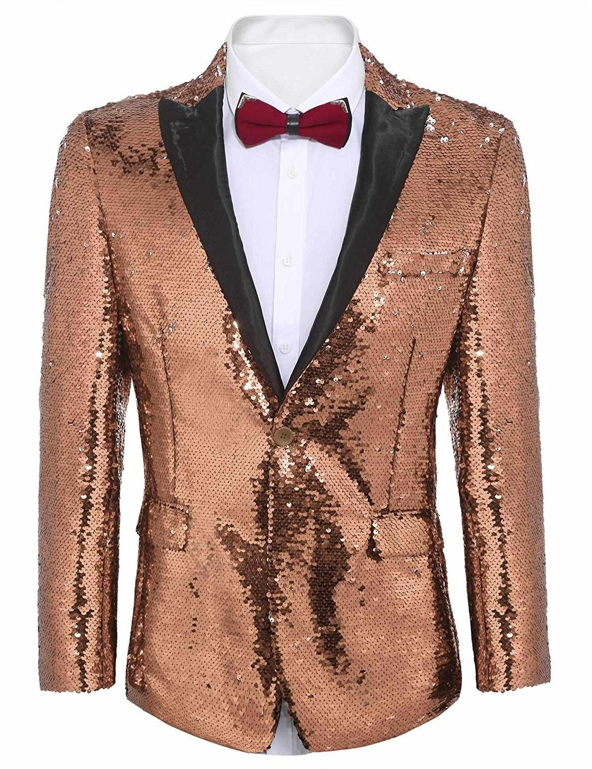 42294d2f41a Shiny Sequins Suit Jacket Blazer One Button Tuxedo For Party-Wedding ...
