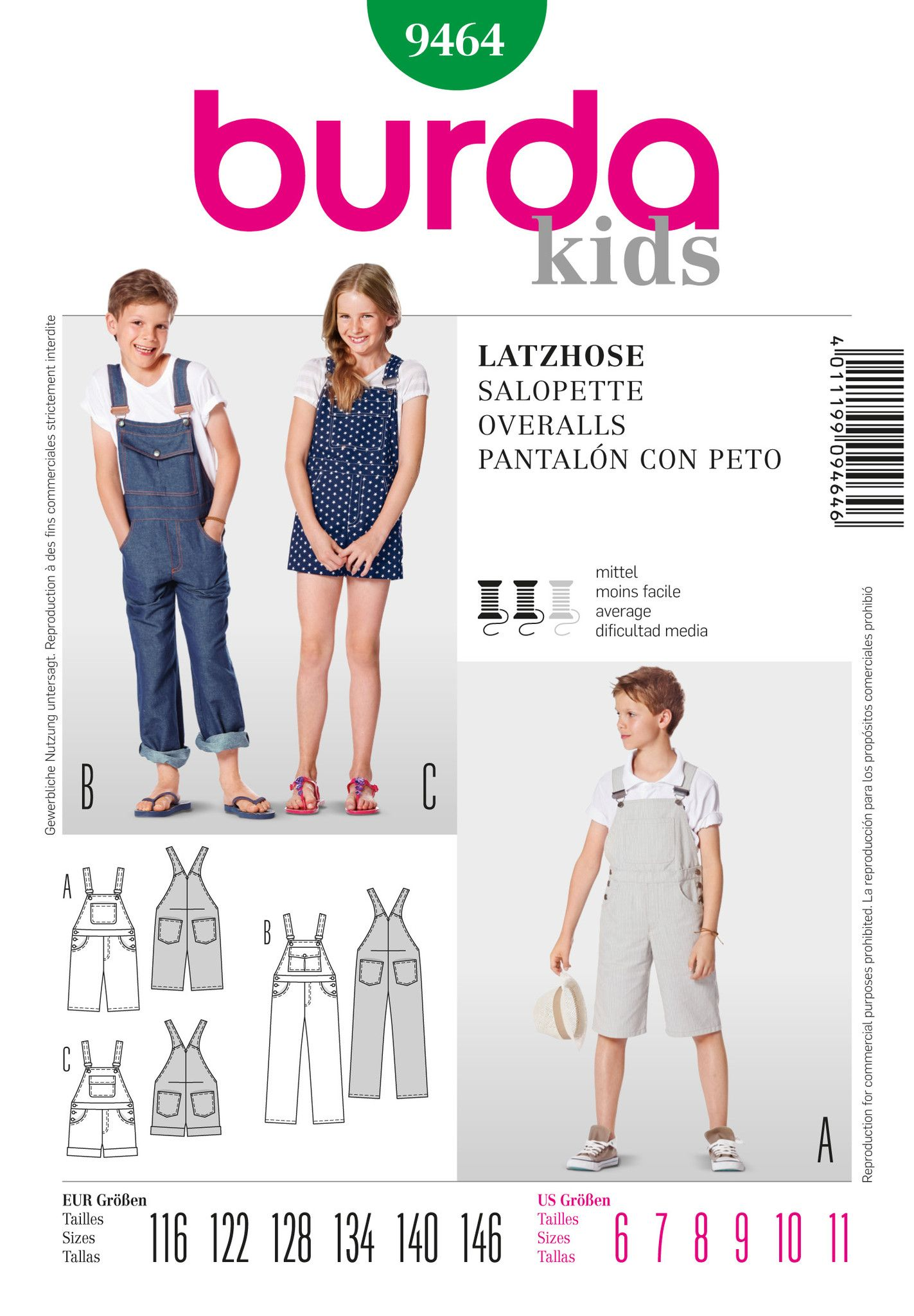 Burda Pattern: BD9464 Kids\' Dungarees — jaycotts.co.uk - Sewing ...