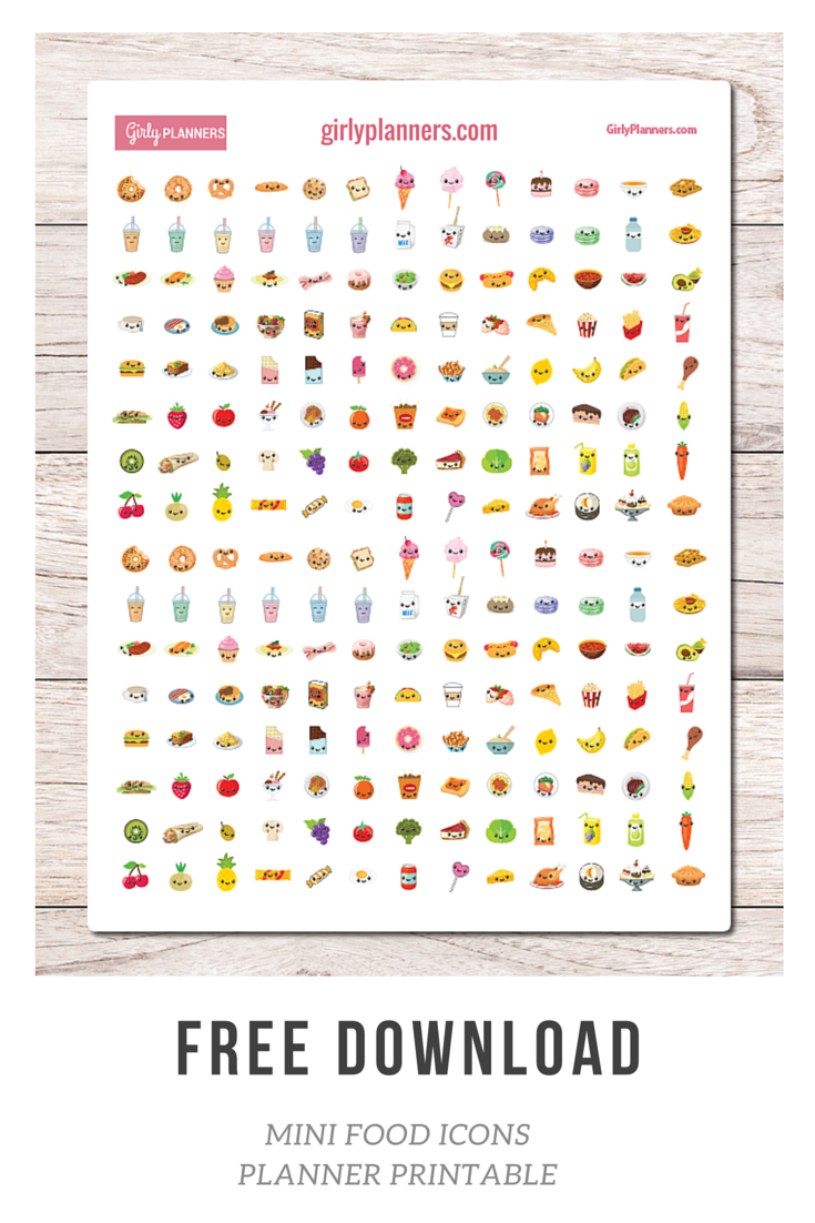 free printable planner stickers: mini food icons - i use these in my
