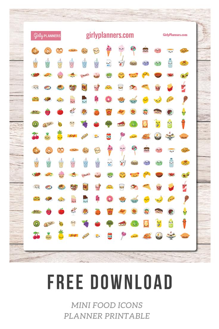 Free Mini Food Icons Free printable planner stickers