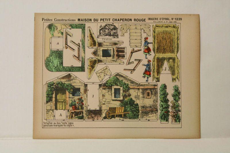 Imagerie D\u0027Epinal No1239 Maison du Petit Chaperon Rouge Construction