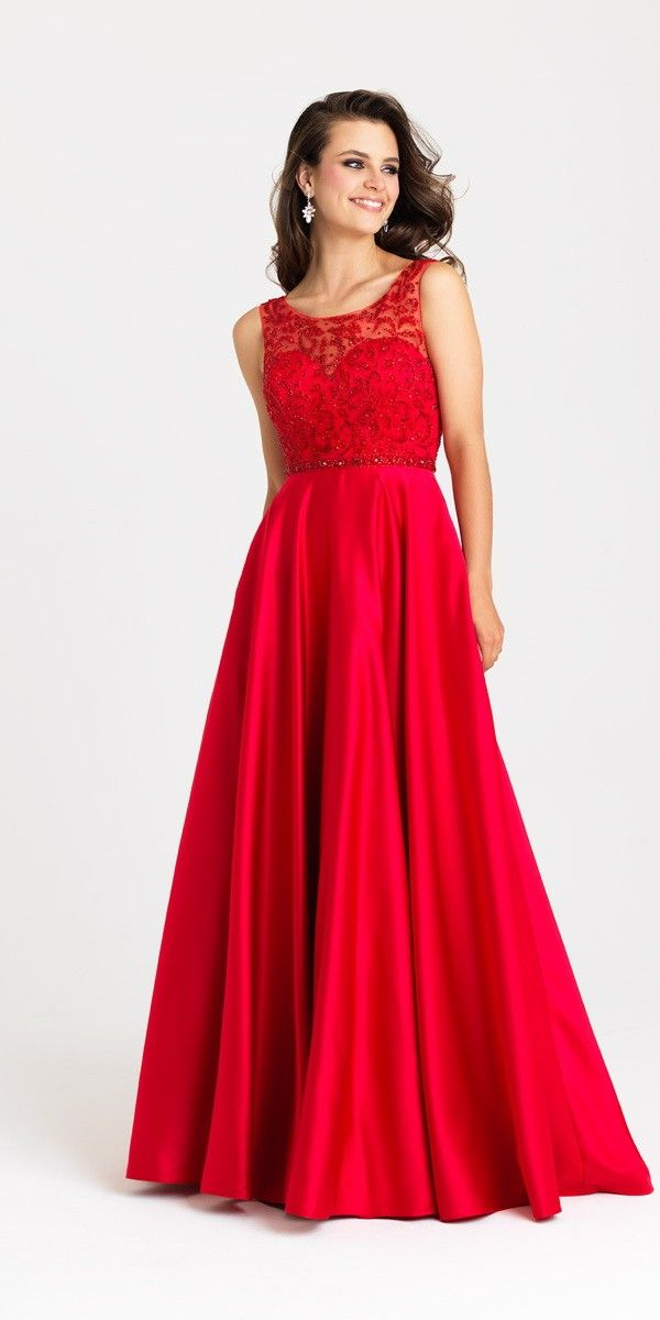 Madison James A-Line Prom Dress. Colors: