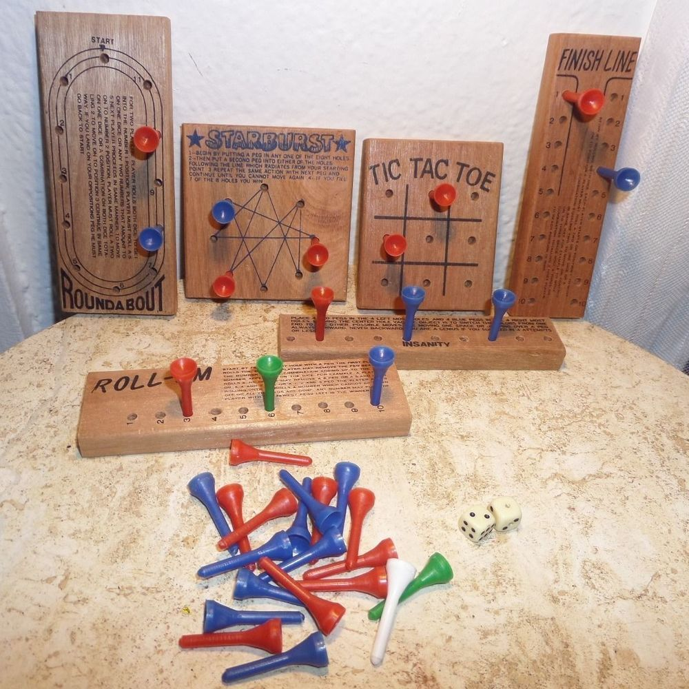 $19.99 Vintage Lot 6 Wooden Bar Peg Board Games & Dice by Miles Kimball Free Shipping #games #vintage #tictactoe #boardgames #pegs #pegboard #fun #toys #roll-em #insanity #oundabout #starburst #pegs #dice #shop #ebay #lot #collection #collector