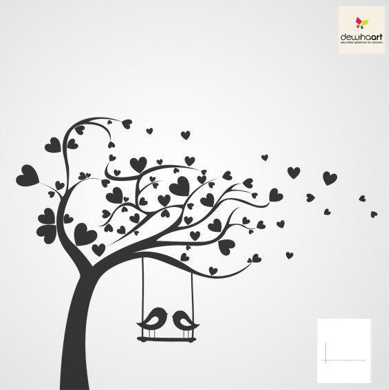 Boom met hartjes en vogels - Dewiha Art - Muursjablonen en Muurstickers