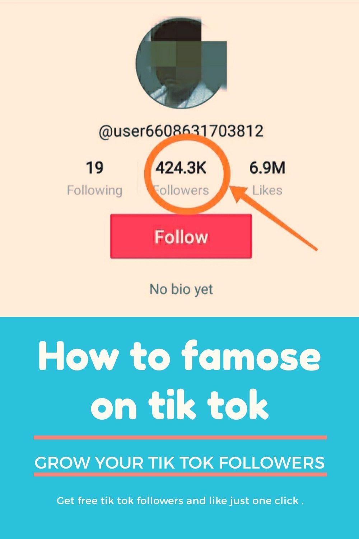 How To Famose On Tik Tok In 2020 Tik Tok How To Get Followers Tok
