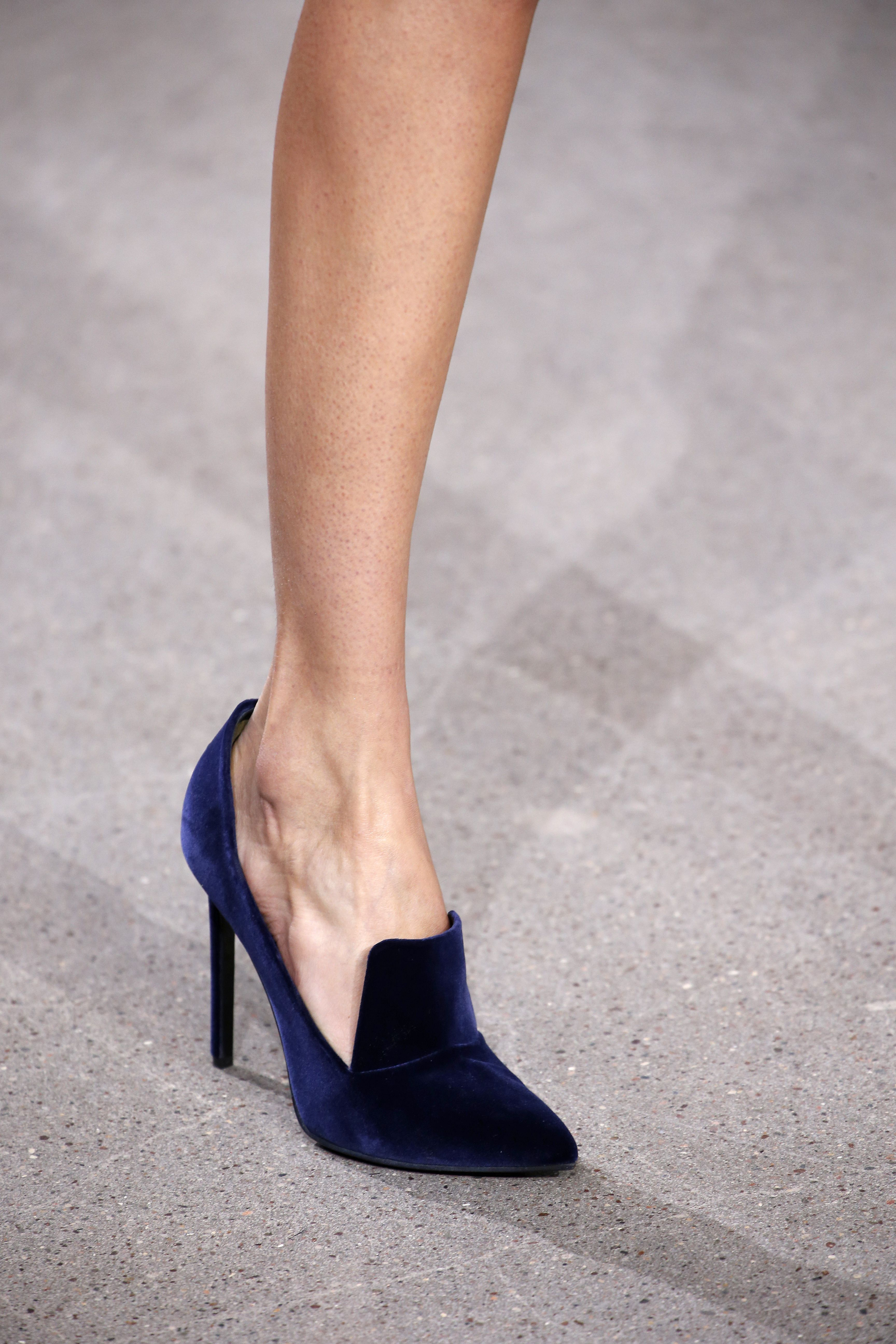 82a288918998 Dark Blue Velvet High Heel Loafers - Jason Wu FW16  https   ladieshighheelshoes.