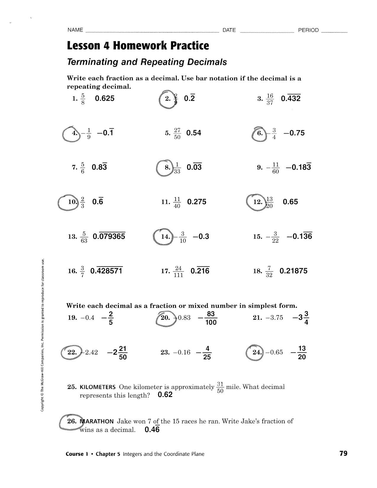 Readable Terminating And Repeating Decimals Worksheet