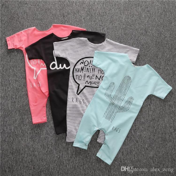 b7a02e24fe0 DHL 4 Design INS Baby Romper Suit Cotton Short Sleeve Letters Striped Printing  Rompers Boys
