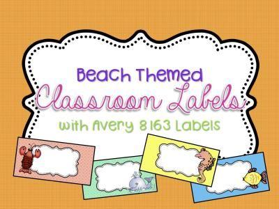 beach theme editable classroom labels 2x4 avery label 8163