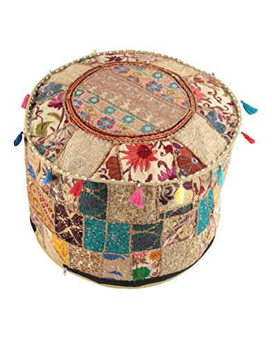 Indian Vintage Ottoman Pouf Cover Patchwork Ottoman Living Room Enchanting Indian Pouf Covers