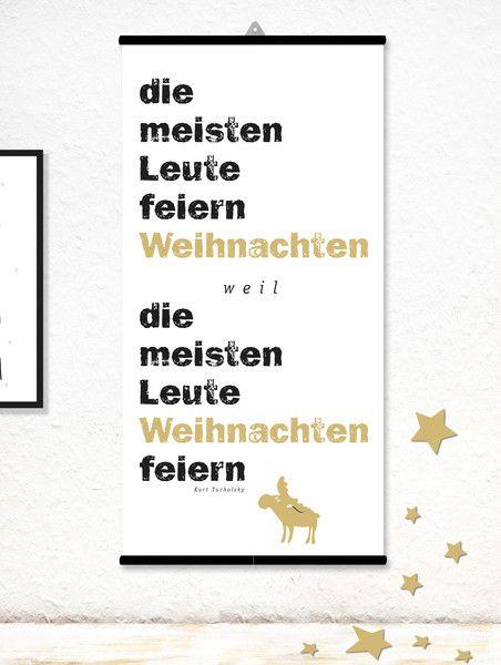 Drucke auf Leinwand Print Typo Leinwand Weihnachten Tucholsky