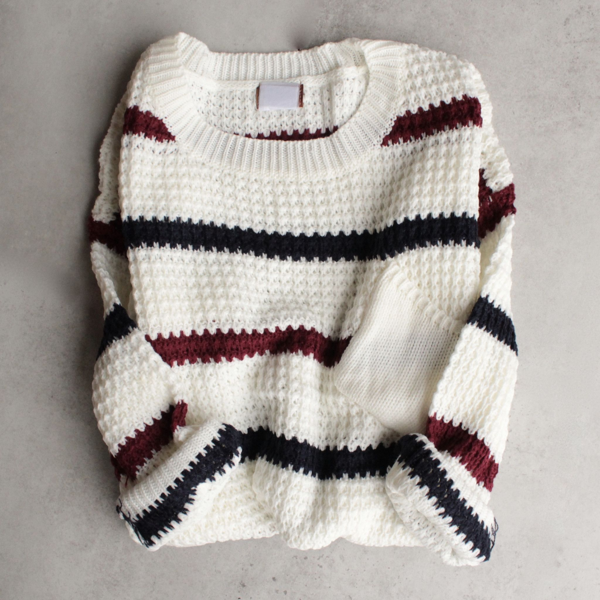 Chunky oversized stripe knit boyfriend sweater - ivory | Striped ...