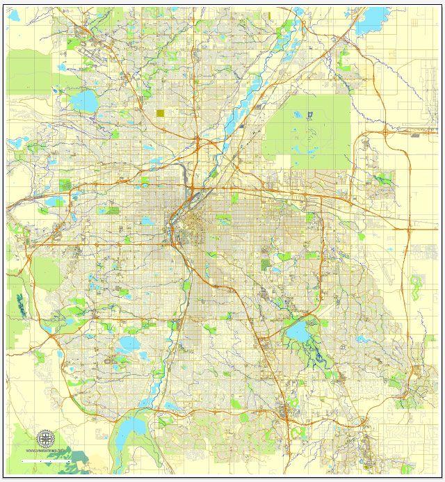 Denver Colorado Pdf Map Us Vector Street City Plan Editable