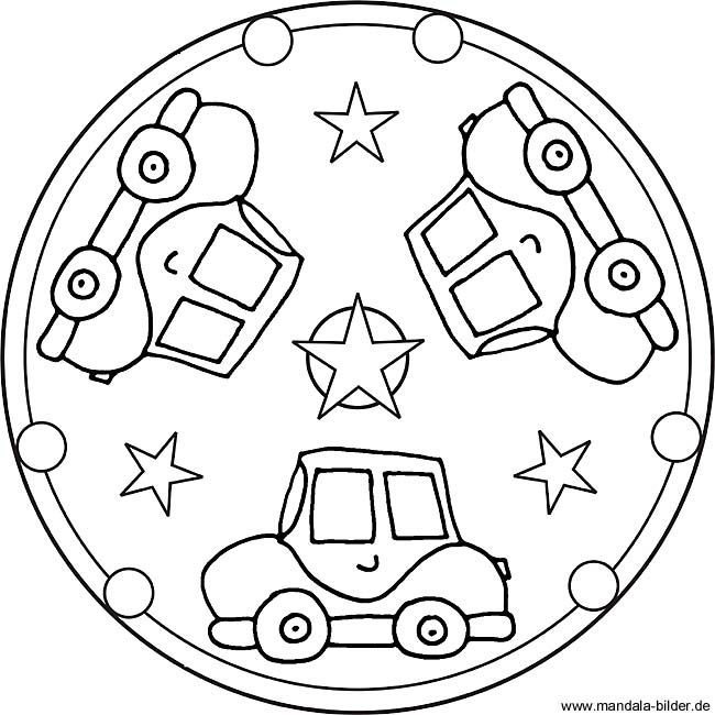 Mandala Template With Three Cars Mandalas Kinder Mandala Ausmalen Mandala Vorlagen