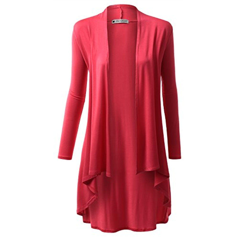 Womens Hi-Lo Draped Open Front Long Cardigan Sweater (S-3X ...