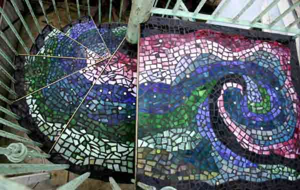 Mosaic glass spiral staircase