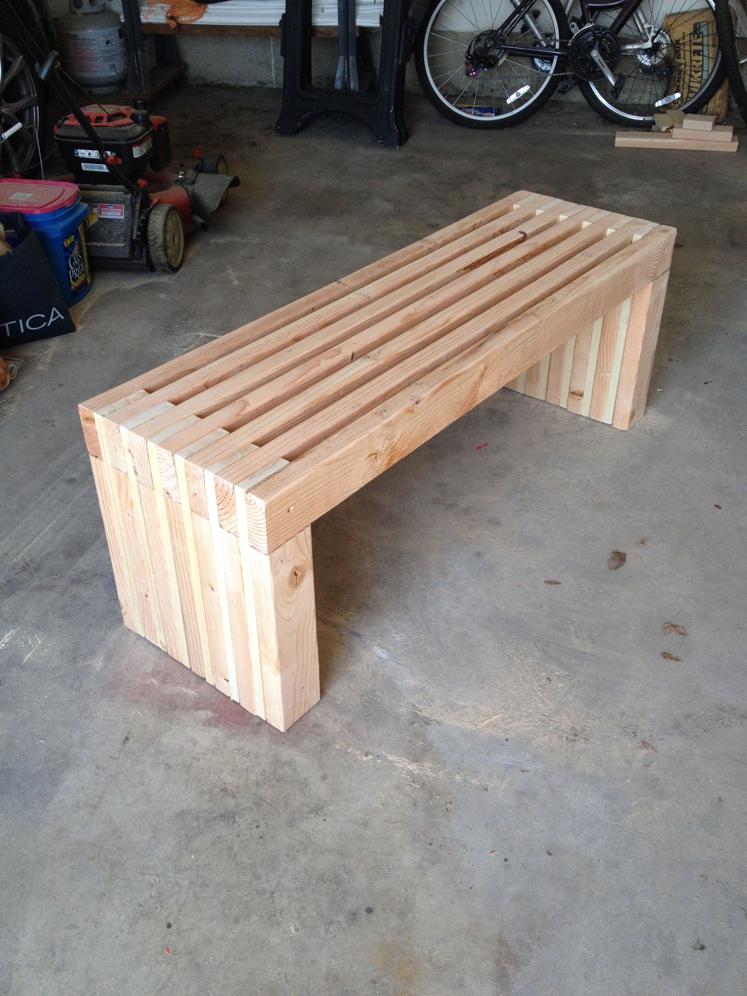 Easy 2x4 slatted bench ana white slat bench diy for Outdoor wood projects ideas