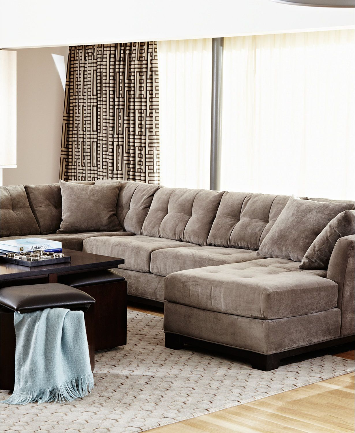 Elliot Fabric Microfiber 3 Piece Chaise Sectional Sofa Macys Com Living Room Furniture Collections Living Room Sectional Home