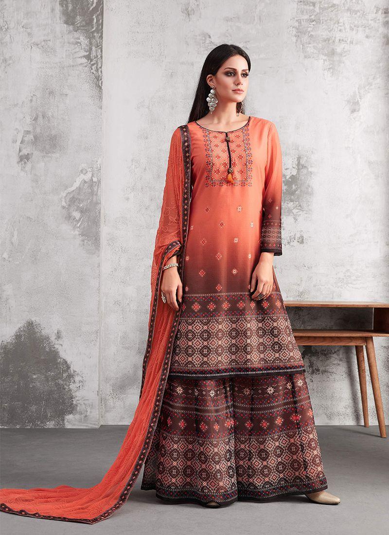 d4daf53da9 Conspicuous Thread Work Designer Palazzo Suit | Salwar Kameez in ...