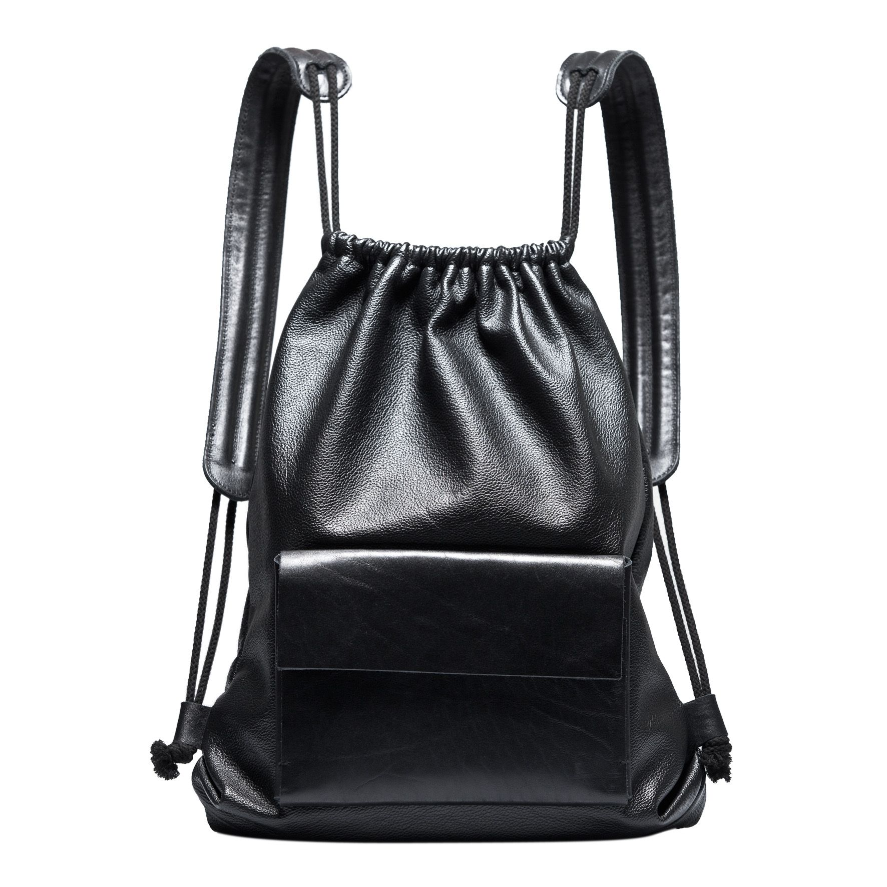 Black Leather Drawstring Backpack Architect S Fashion Bags