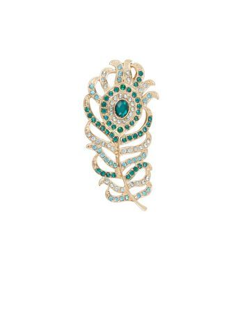 Green Diamante Peacock Feather Brooch | New Look