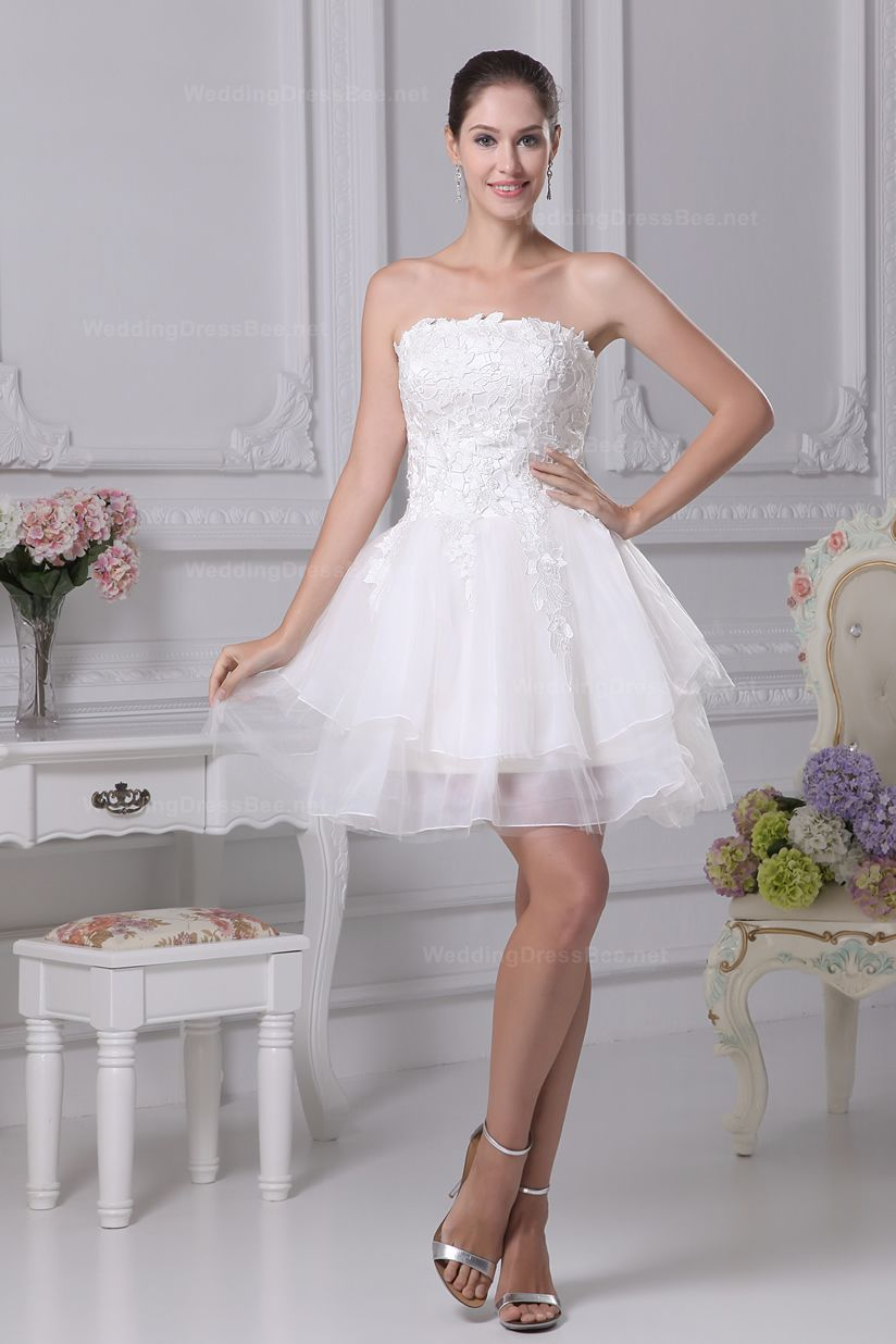 Lovely strapless with lace appliques decoration above knee length ...