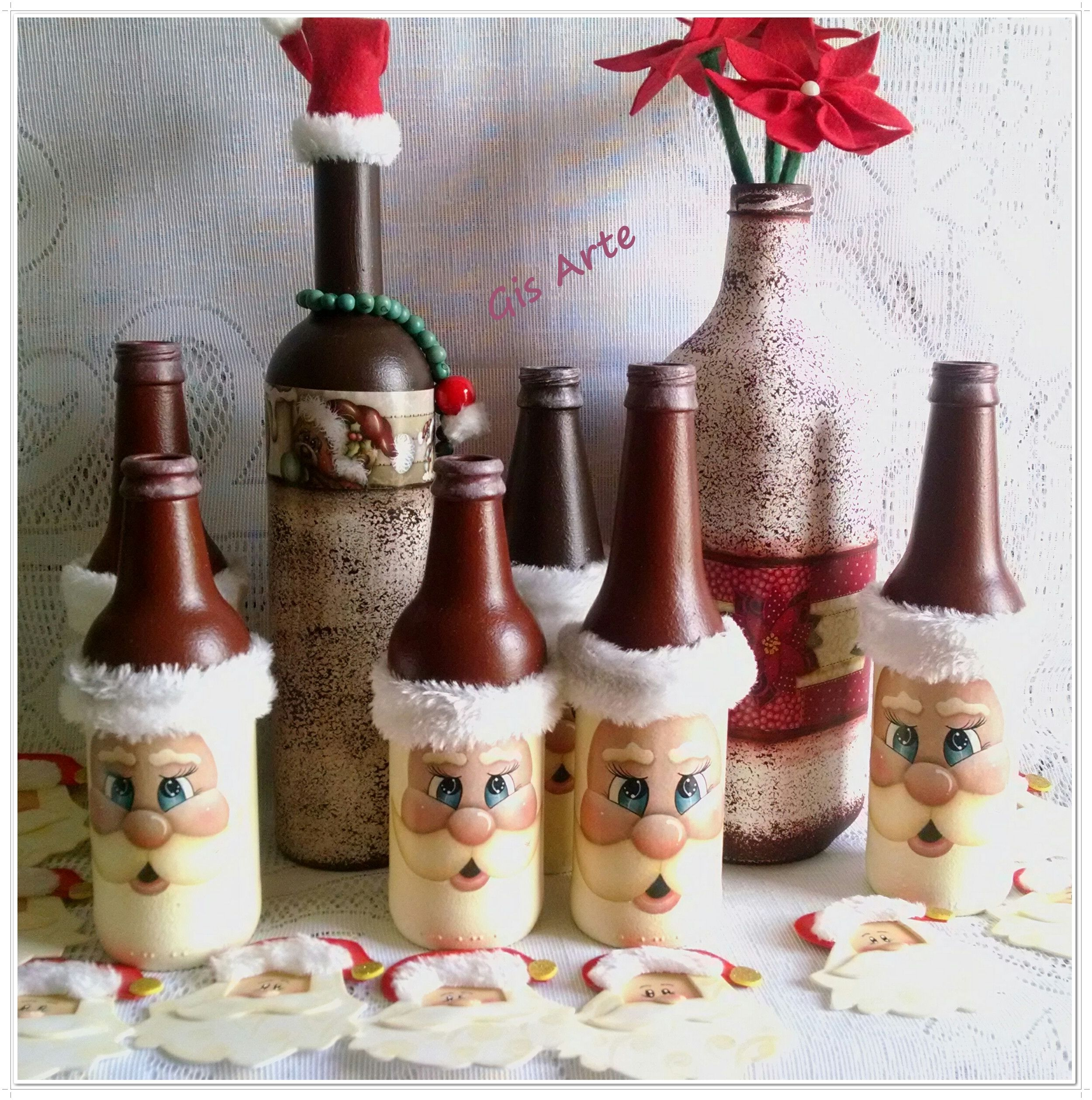 Pin de donna tate en christmas bottle painting pinterest for Botellas de vidrio decoradas para navidad