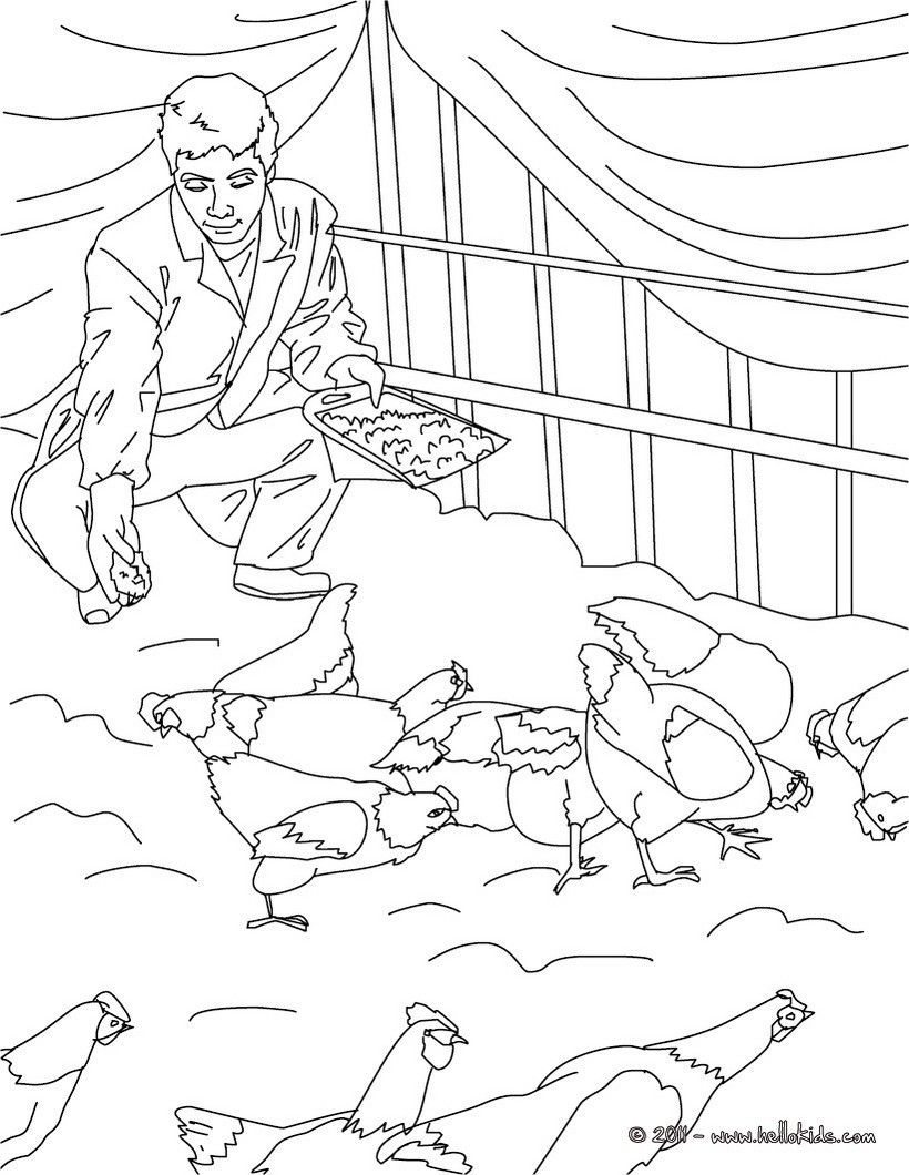 Farmer feeding his hens coloring page. Amazing way for kids to ...