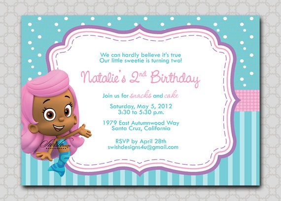 17 Best images about Bubble Guppies 2nd Birthday – Free Printable Bubble Guppies Birthday Invitations