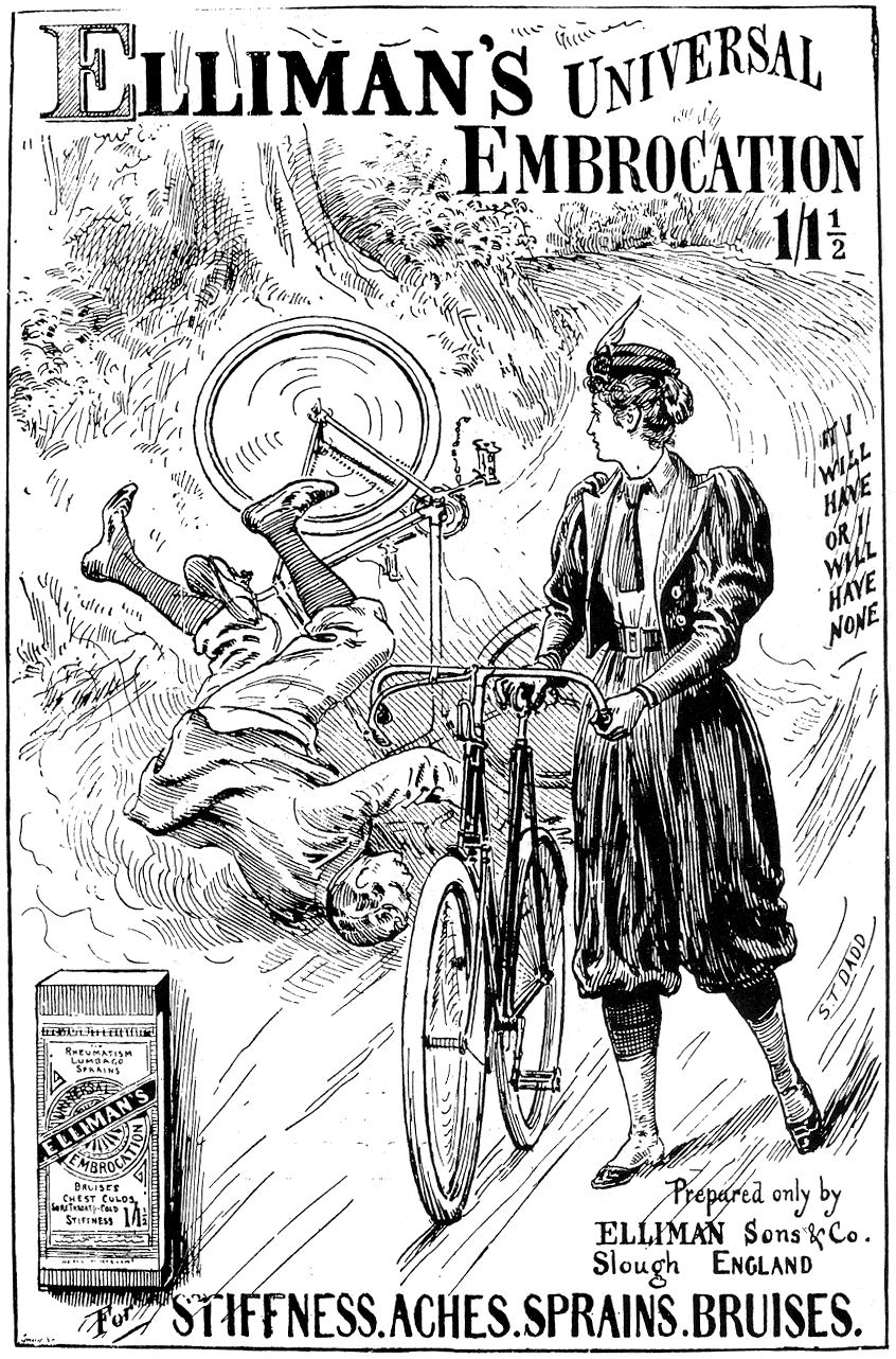Vintage Ephemera Apothecary Advertisement Man Woman Bicycle