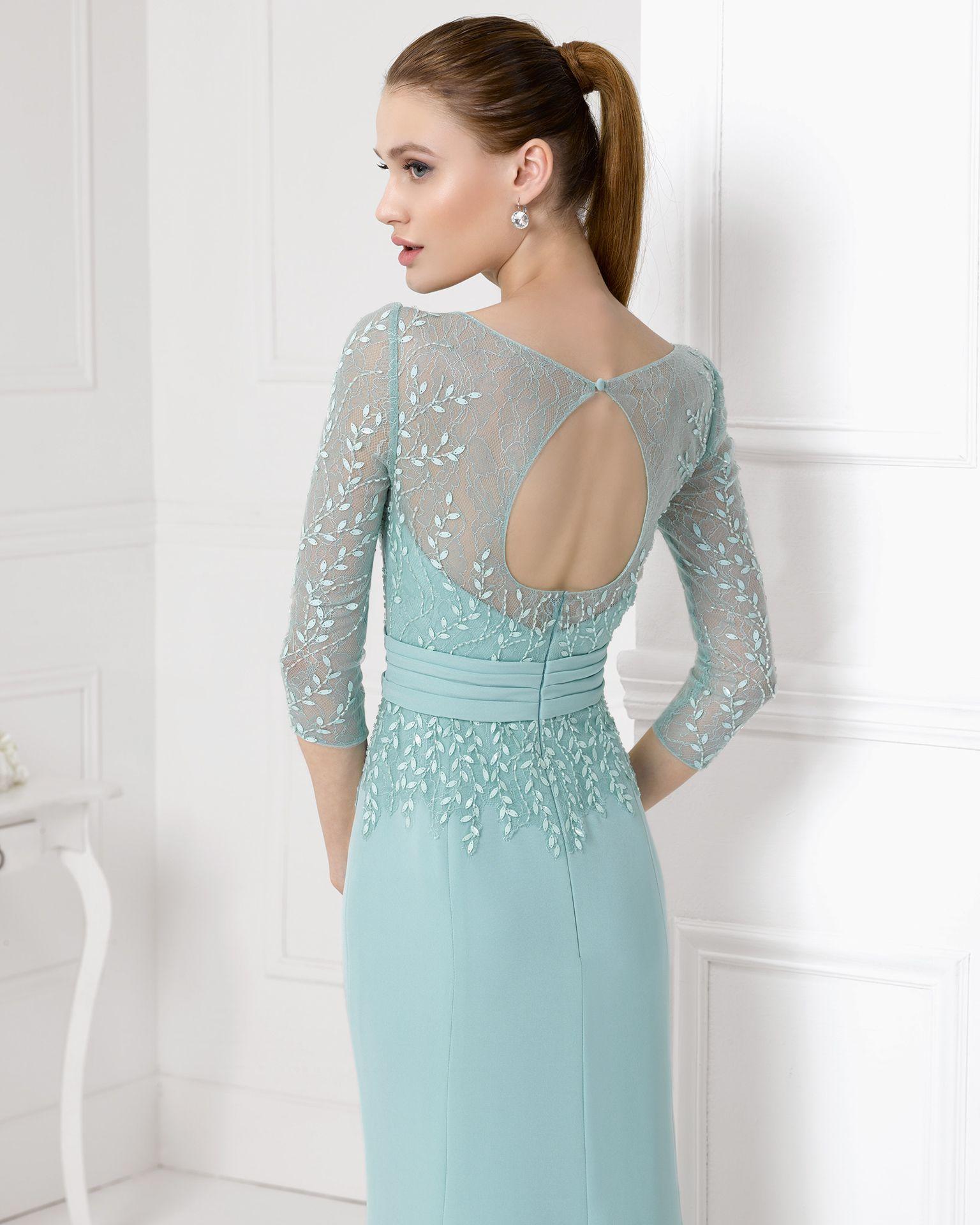 9U157 vestido de fiesta en crepe, encaje y pedreria.   vestidoa ...