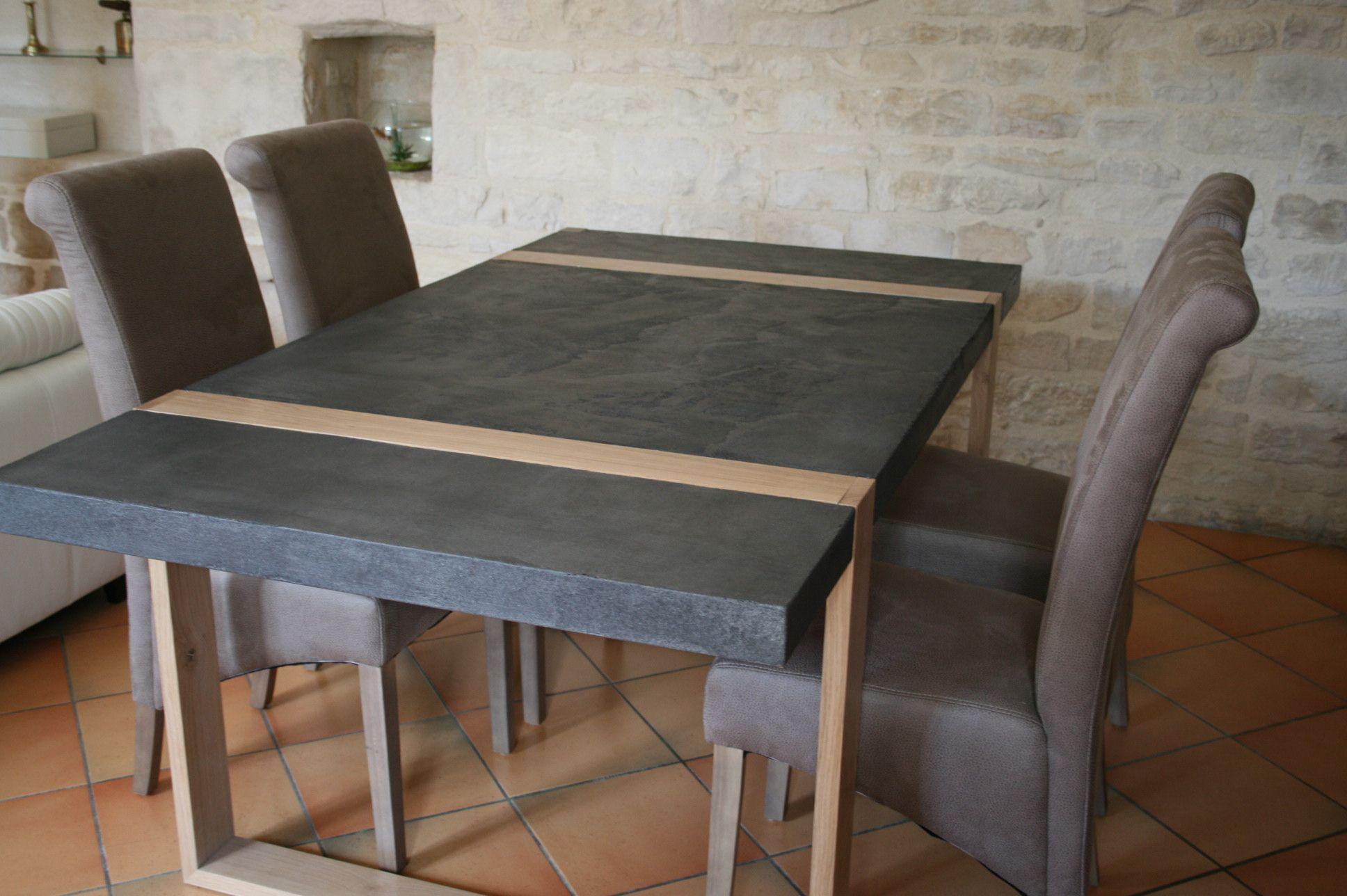 Table En Béton Ciré Et Bois table en béton ciré et chêne massif. 1500€ #meuble