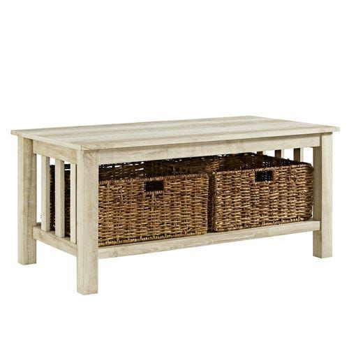 White Oak Coffee Table With Storage Baskets In 2020 Coffee Table