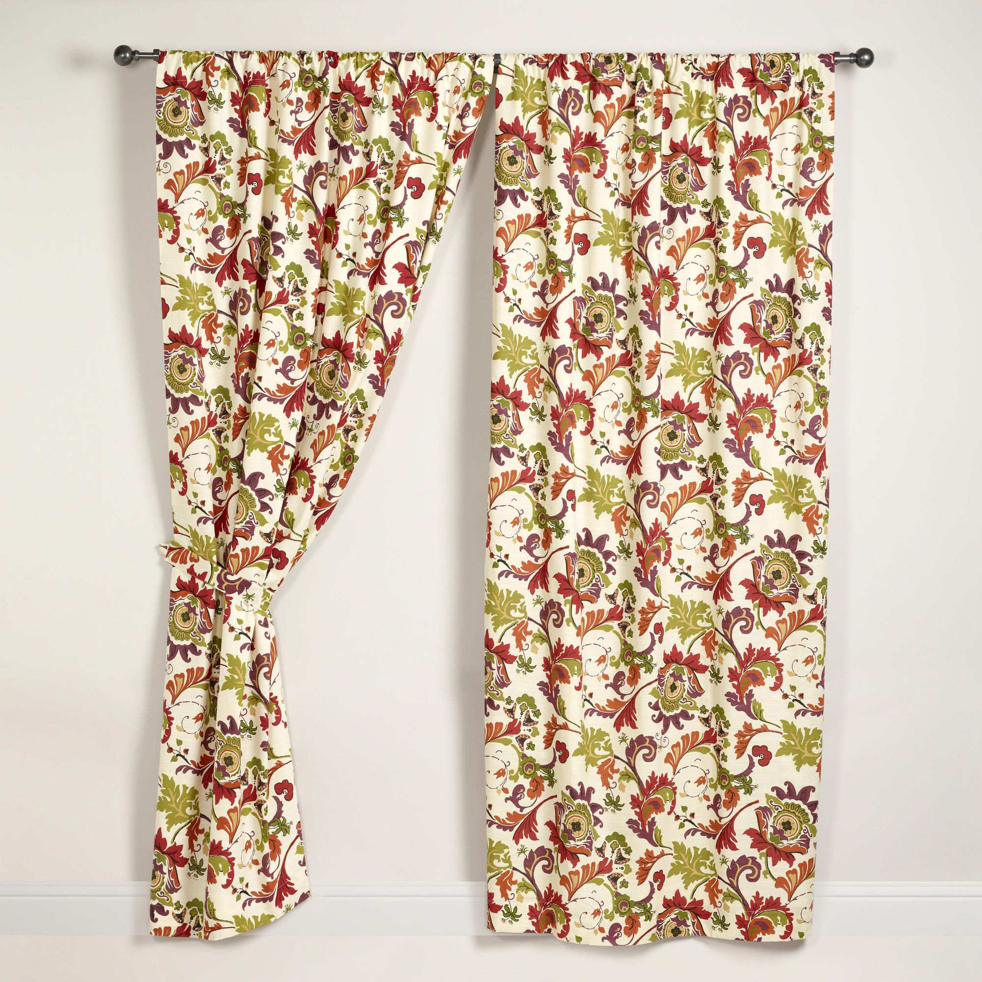 Floral Campione Cotton Curtains Set Of 2 Dining Room