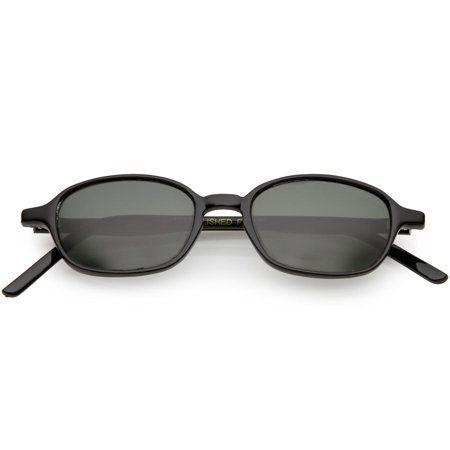 f3a0c94e76 True Vintage Horn Rimmed Square Sunglasses Slim Arms 45mm (Black   Smoke)