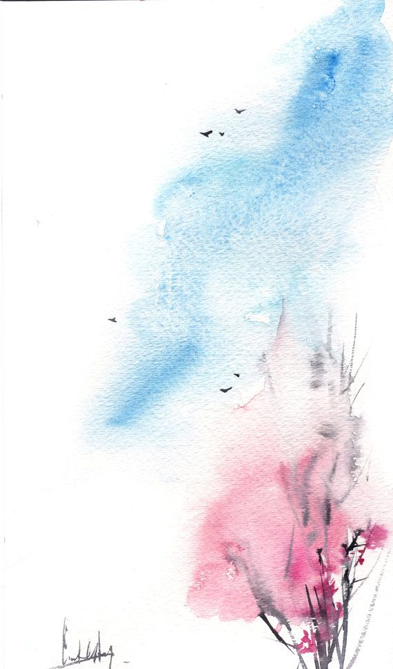 Spring Painting Image By Ena On Art Minimalist Watercolor Sky